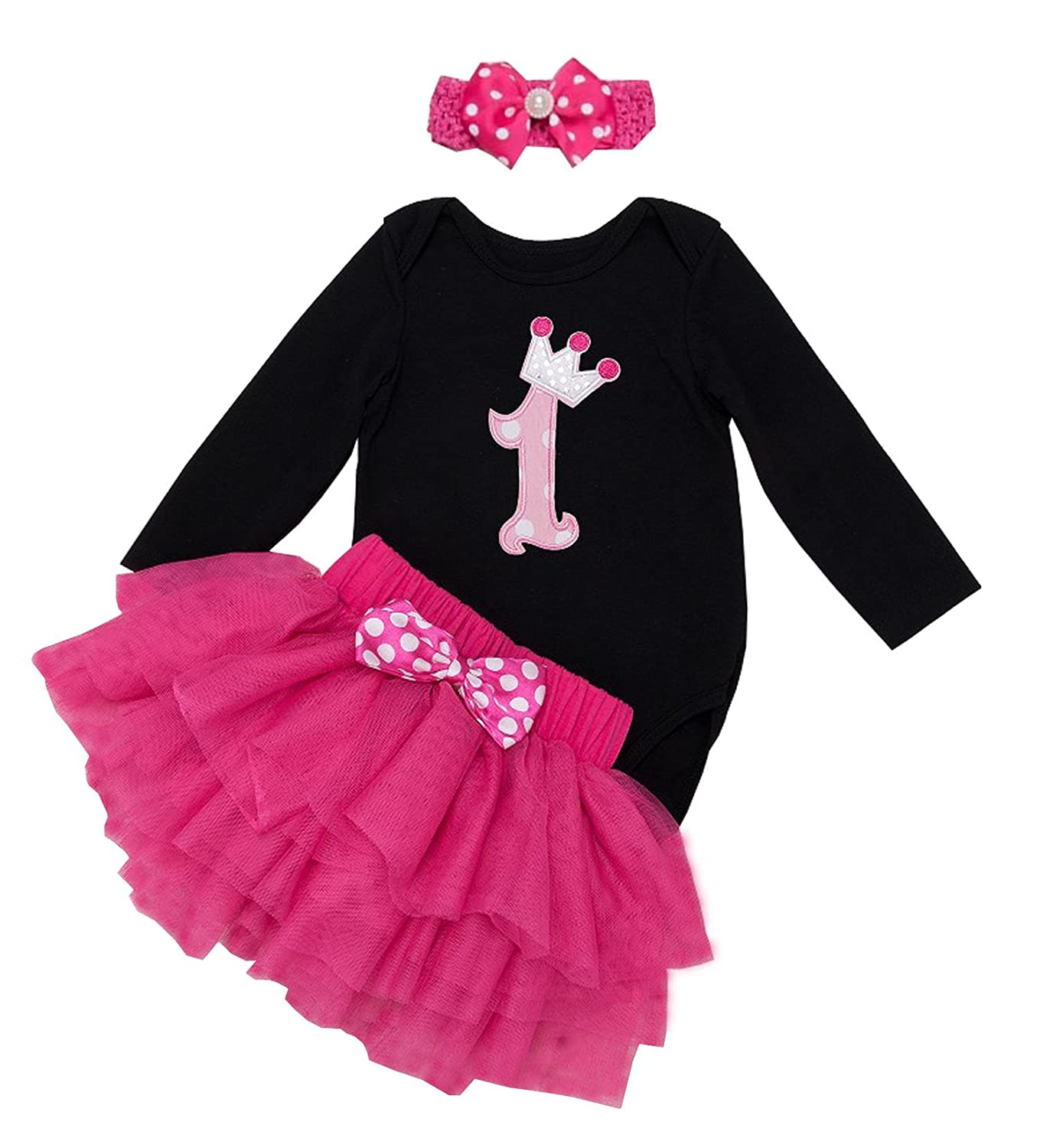 BabyPreg Baby Girls Long Sleeves Romper 1st Birthday Tutu Outfit Dress Headband