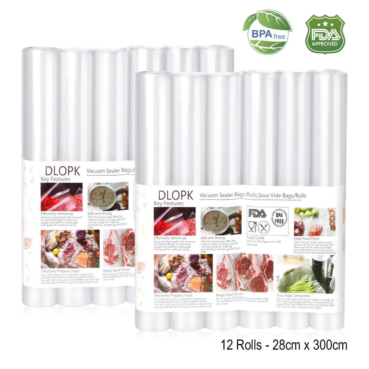 Bolsas de Vacío 12 pack 28x300cm Bolsas Profesional para la Conservación,Sous Vide Cocina, Aprobación de la FDA y BPA Free