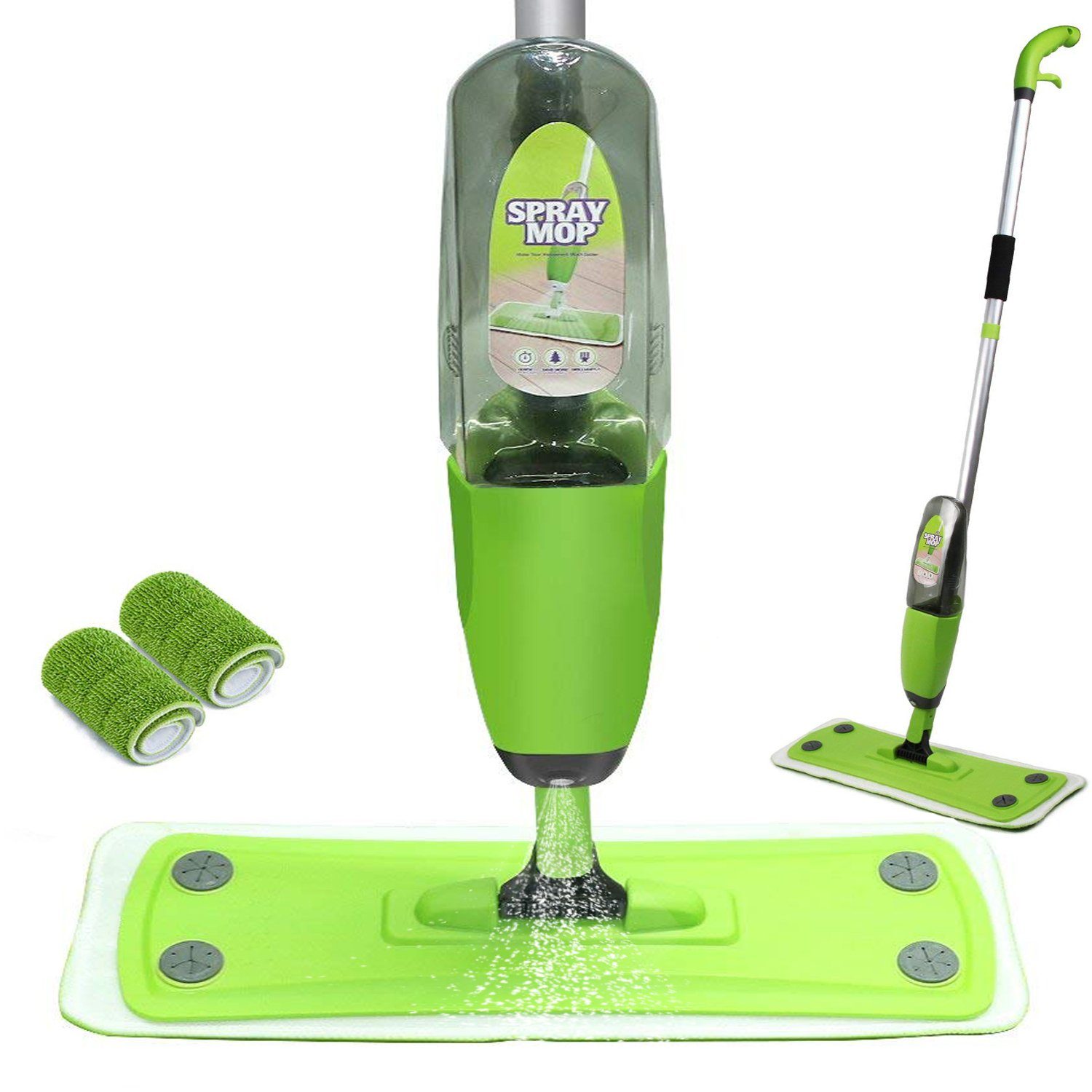 Microfiber Spray Mop -2 Reusable Flat Mop Pads and Extension Included, for Wet or Dry Floor Cleaning ,Heads Household Cleaning for Kitchen,Home,Hardwood