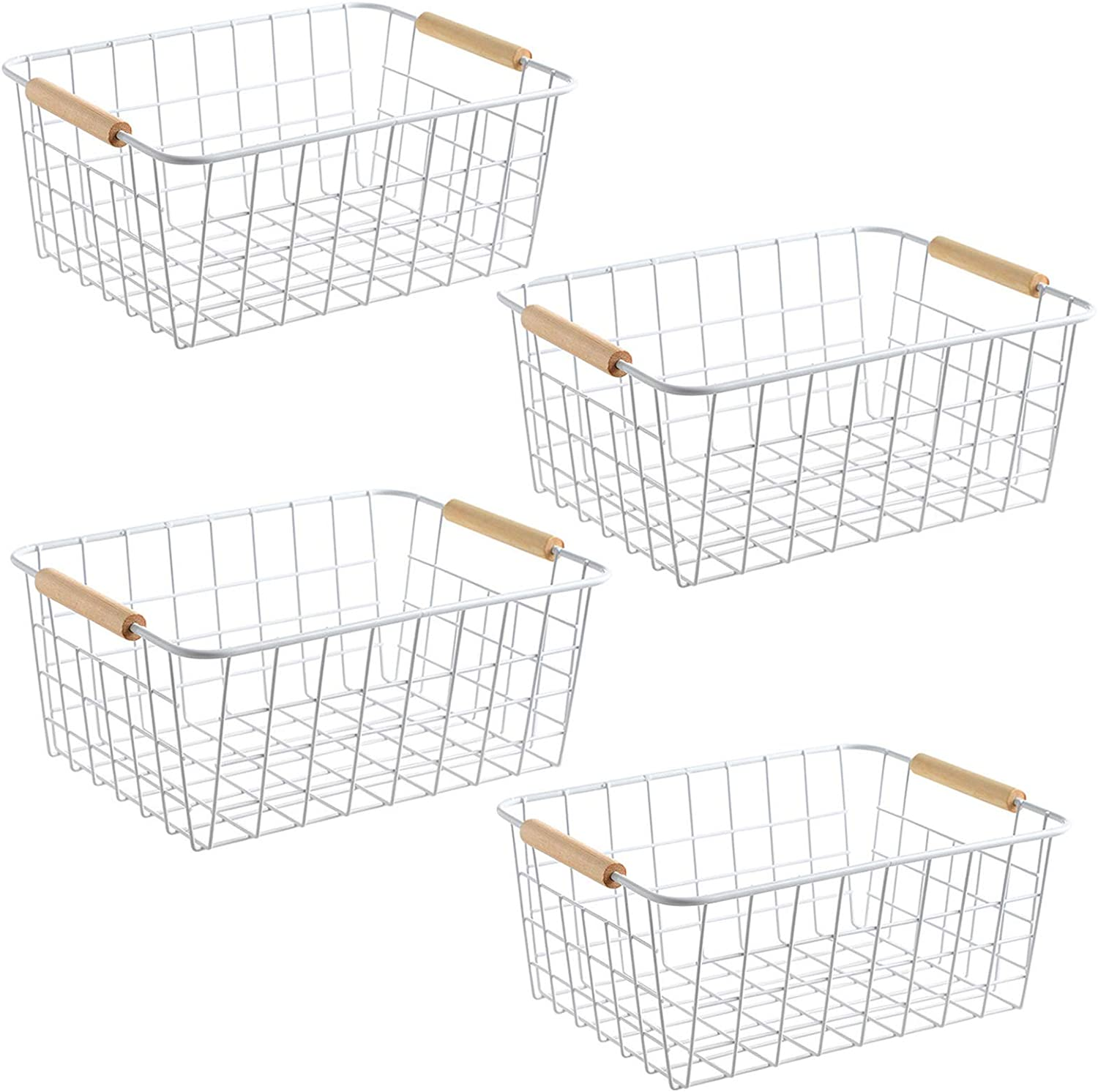 LeleCAT Wire Baskets with Handles Wire Storage Organizer Baskets For Kitchen, Household Refrigerator for Cabinets, Pantry, Closets, Bedrooms - Set of 4(White)