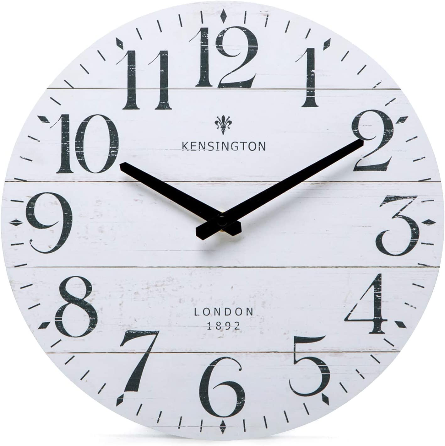 NIKKY HOME Farmhouse Wall Clock - 12 Inch Antique Silent Non Ticking Battery Operated Vintage Country Rustic Distressed White Wood Clock Home Decor for Kitchen, Living Room