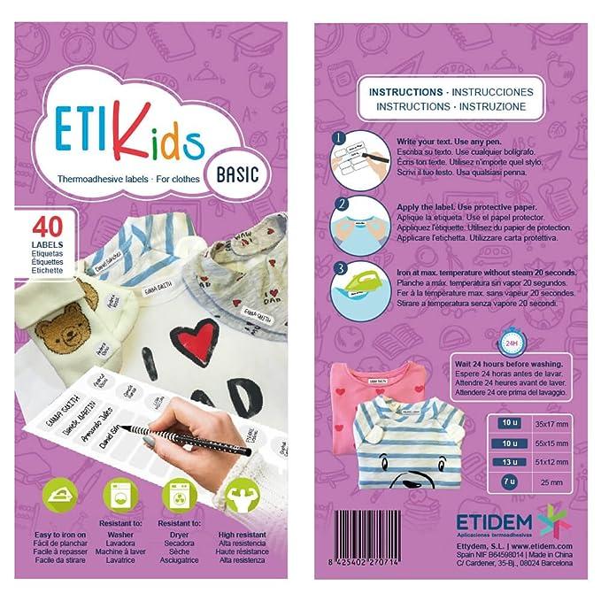 ETIKIDS 40 Etiquetas para ropa personalizables para la guardería y colegio. (basic): Amazon.es: Oficina y papelería