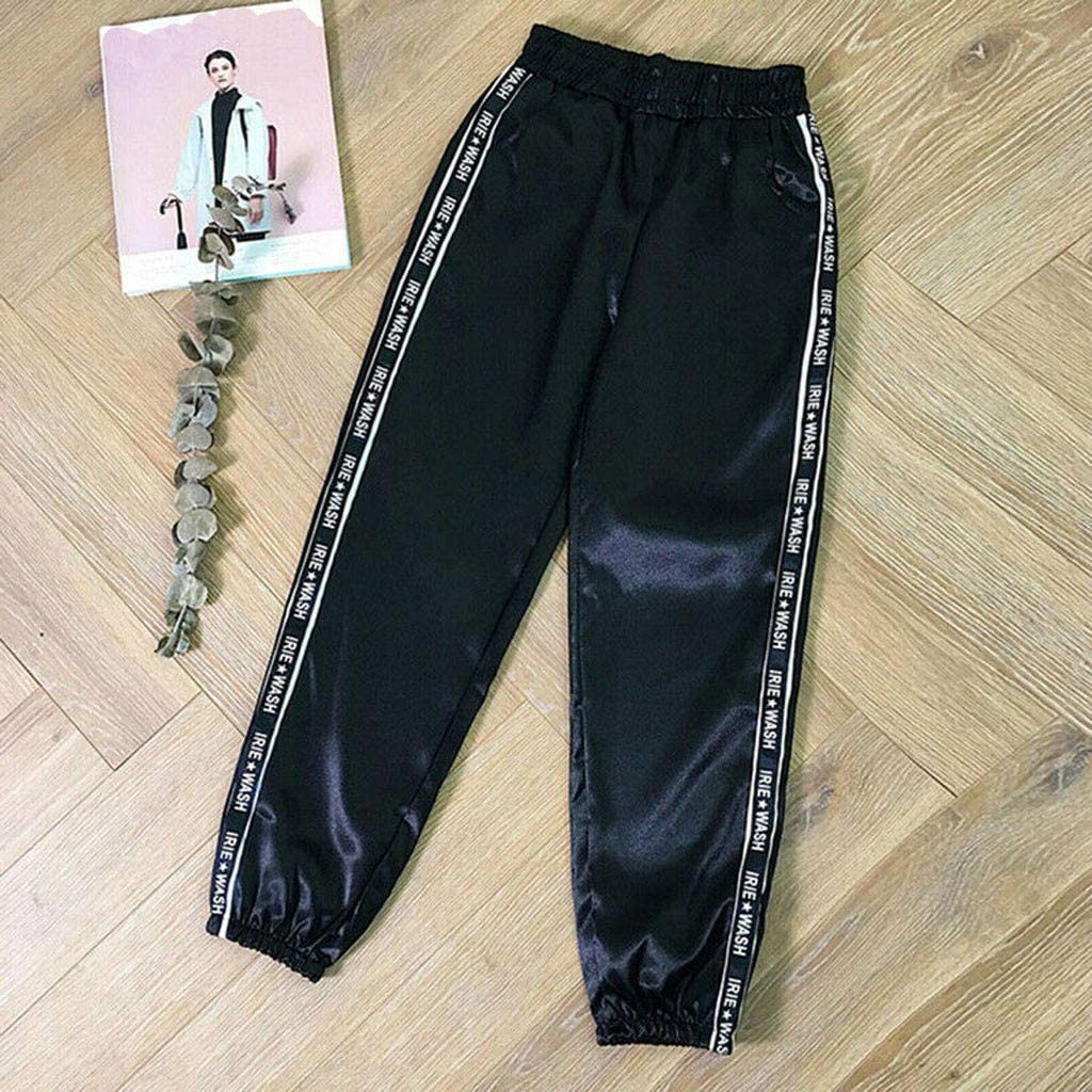 Padaleks Womens Elastic Waist Pants Casual Jogger Sweatpants Reflective Sport Punk Hip Hop Trousers Streetwear