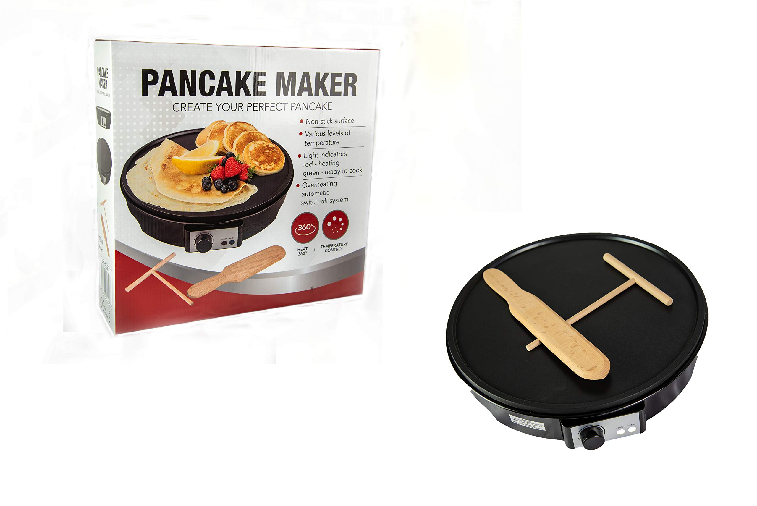 Ovation Electric Crepe Maker Pancake Maker Non Stick with Utensils 1000W