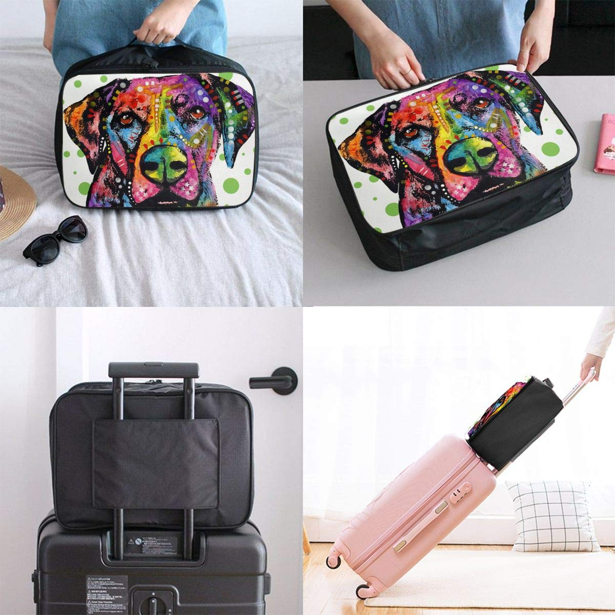 Color Art Guide Dog Canvas Travel Weekender Bag,Fashion Custom Lightweight Large Capacity Portable Luggage Bag,Suitcase Trolley Bag