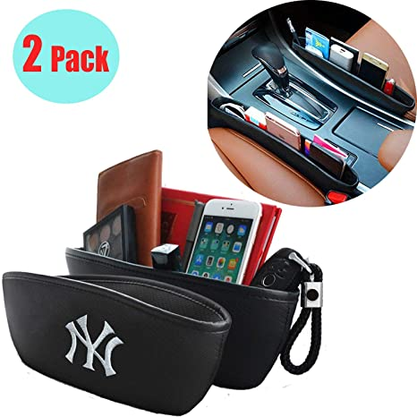 2 Pack Car Seat Gaps Fills Storage Pockets,with Carbon Fiber Grain PU Leather Embroidery Yankees Logo,Car Seat Crevice Storage Box Organizer for Fixing Phone Sunglasses Keys. New York Yankees