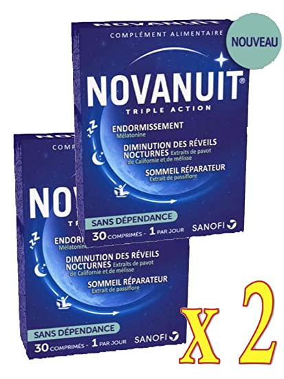 novanuit sueño triple action – Pastillas sin Dioxide de titanio – 2 meses de tratamiento –