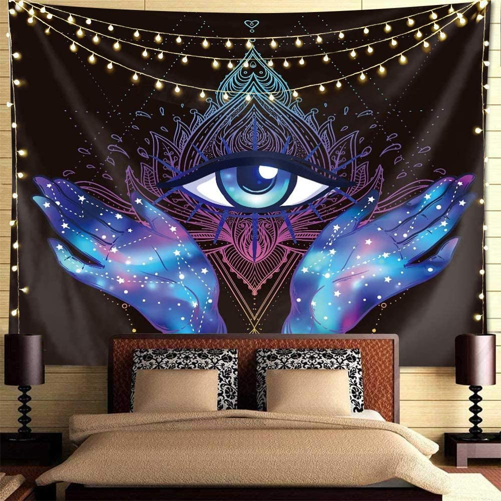 Psychedelic Tapestry Trippy Tapestry Black Purple Hamsa Hand Tapestry Evil Eye Hamsa Hand Tapestry Blessing Home Good Luck Tapestry Mandala Bohemian Tapestries For Bedroom Dorm Room. (59