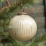 4 In Ribbed White Mercury Glass Kugel Ornament Set/6