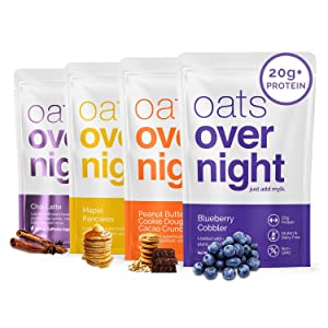Oats Overnight - Dairy Free Variety Pack (8 Pack) High Protein, Low Sugar Breakfast Shake - Gluten Free, High Fiber, Non GMO Oatmeal (2.6oz per pack)