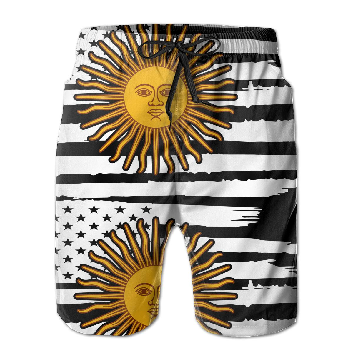 Mens American Flag Argentina Sun Board Shorts Swim Trunks