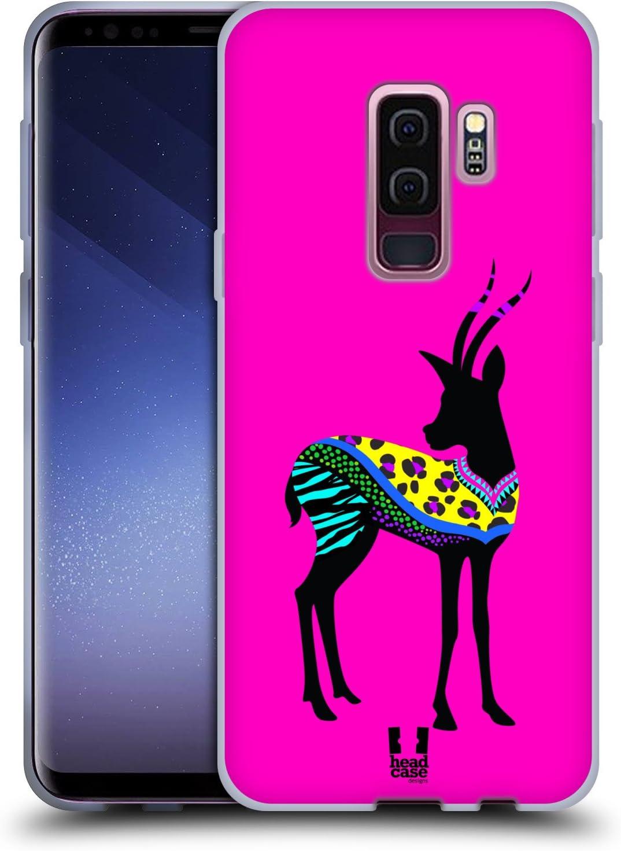 Head Case Designs Gazelle Neon Animal Silhouettes Soft Gel Case Compatible for Samsung Galaxy S9+ / S9 Plus