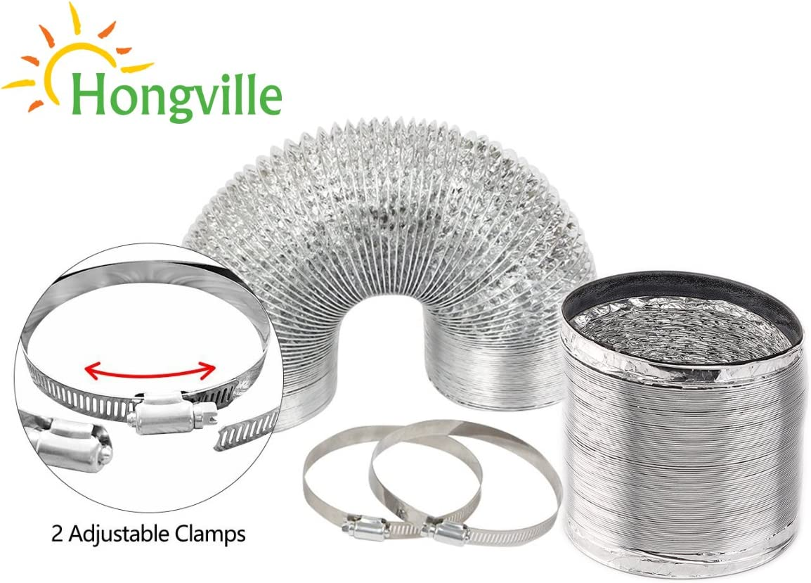 Hongville 6 Inch 8 Feet Aluminum Flex Air Ducting for Ventilation with 2 PCS Adjustable Stainless Steel Worm Gear Hose Clamps