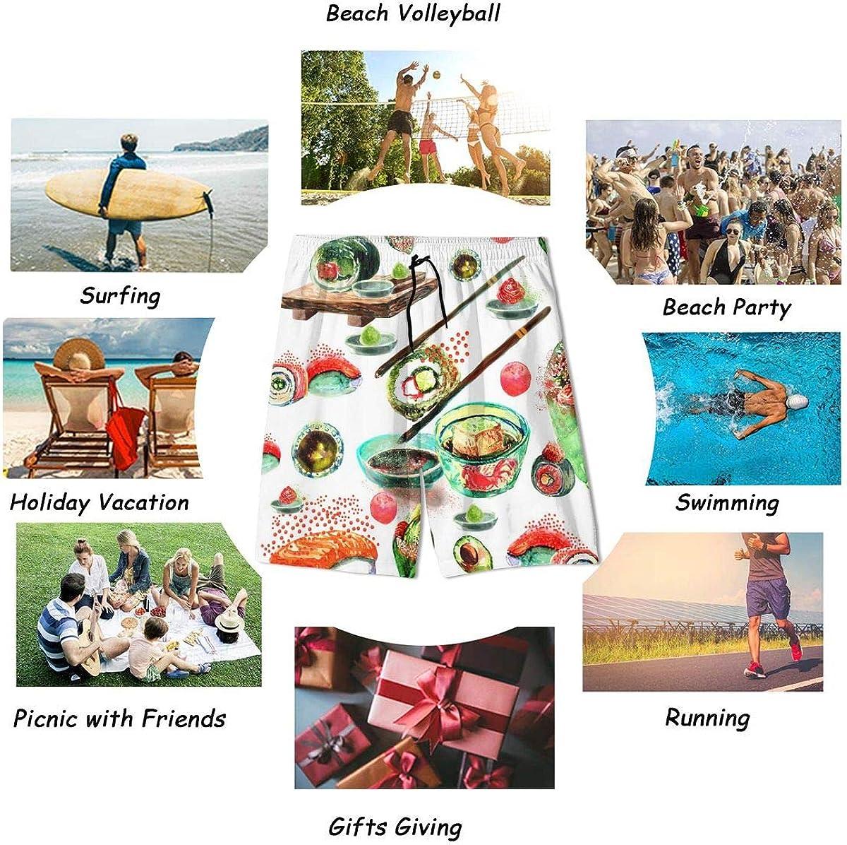 Kidhome Teenagers Boys Beach Board Shorts Sushi Pattern Summer Drawstring Beach Shorts Swim Trunks with Pockets for Teen Boys