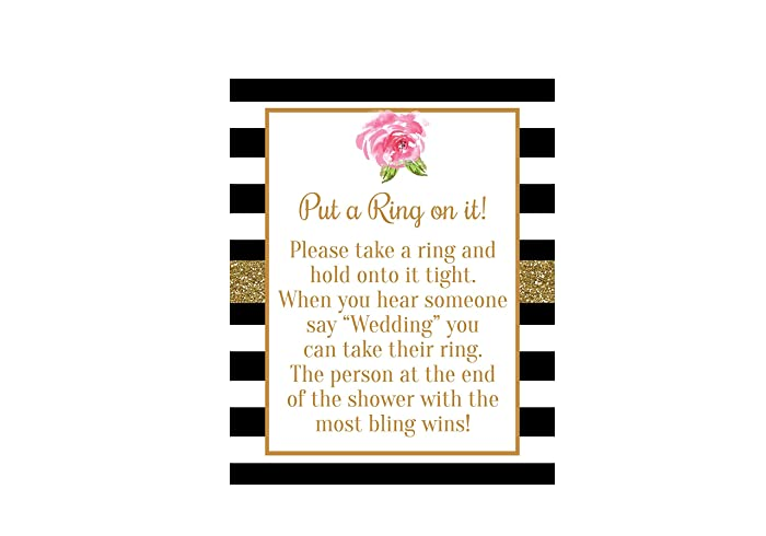 put a ring on it bridal shower game bridal shower sign black and white