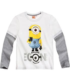 1a61976d55551 MINIONS Despicable Me Garçon Tee-Shirt Manches Longues 2015 Collection -  Blanc