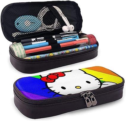 Hello Kitty - Estuche para lápices (piel, tamaño grande), diseño de arcoíris: Amazon.es: Oficina y papelería