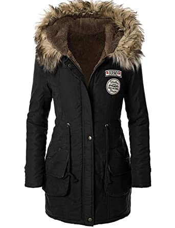 Veste Trench Femme Coat Parka Noir Capuche Fourrure Manteau Hiver x6qU7H