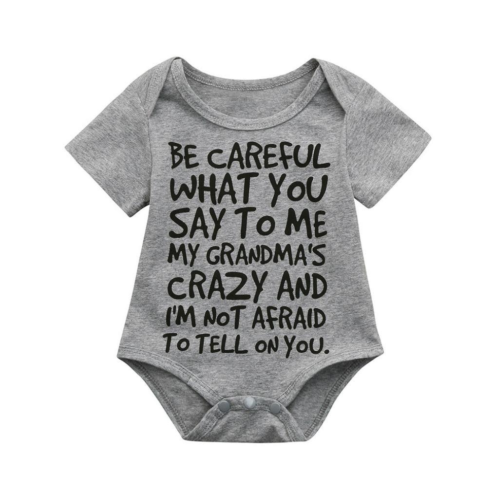 Clearance Sale 0-24 Months Newborn Infant Baby Kids Girl Boy Letter Print Romper Jumpsuit Sunsuit Outfits Clothes (Gray, 12-18 Months)