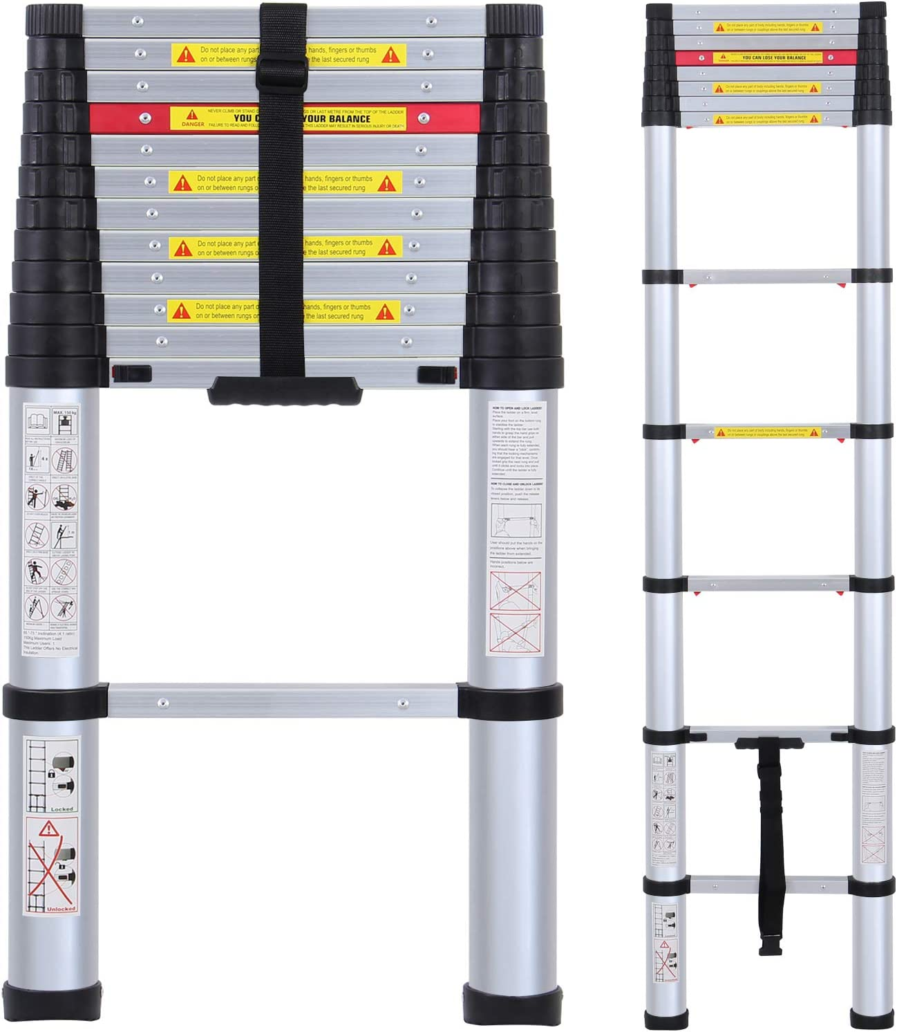 Aluminum Telescoping Extension Ladder Telescopic Ladder Multi Purpose Ladder 8.5 Feet 330 Pound Capacity