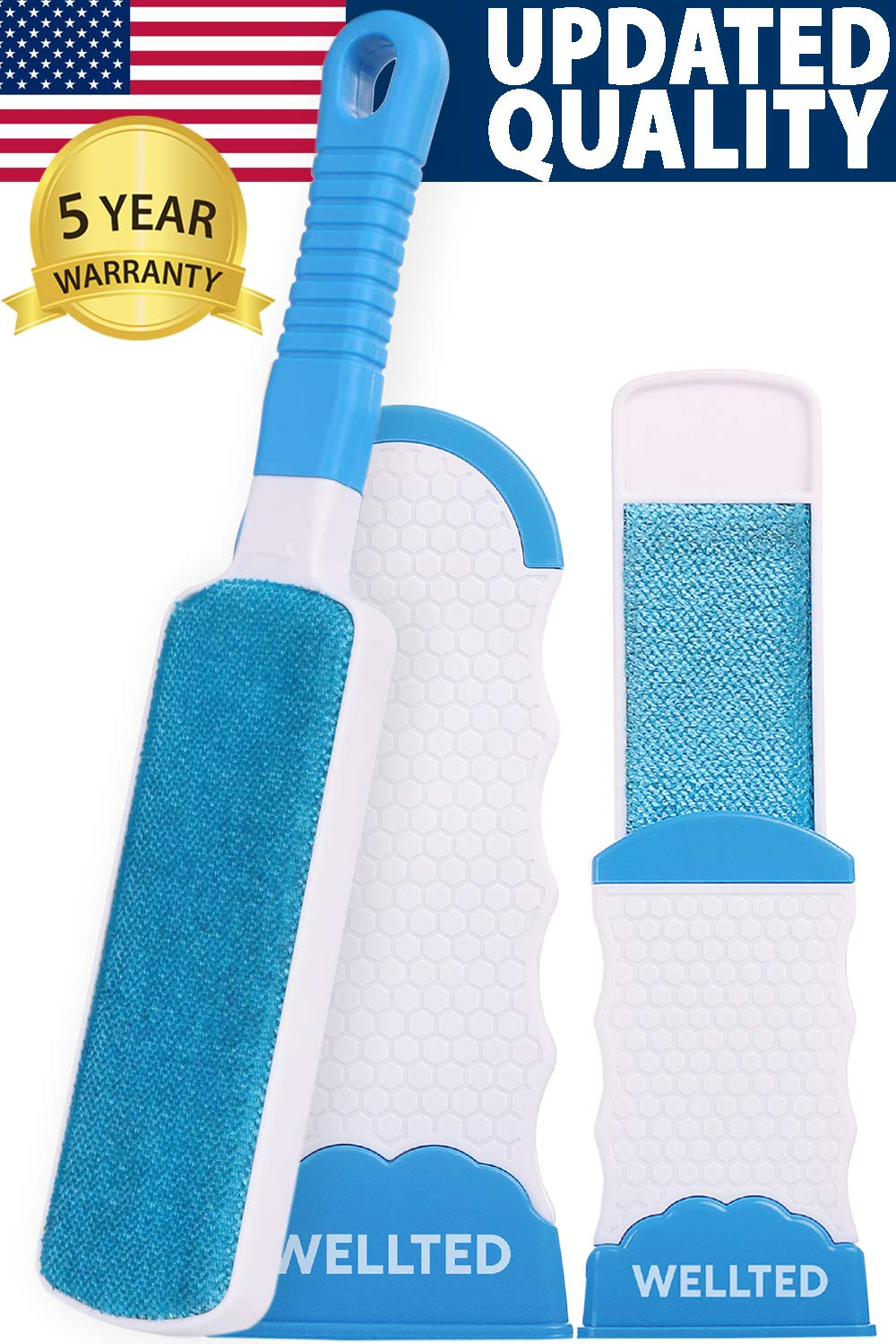 WELLTED Pet Hair Remover Brush – Lint Brush – Fur Remover – Fur & Lint Removal – Dog & Cat Hair Remover – Double-Sided…