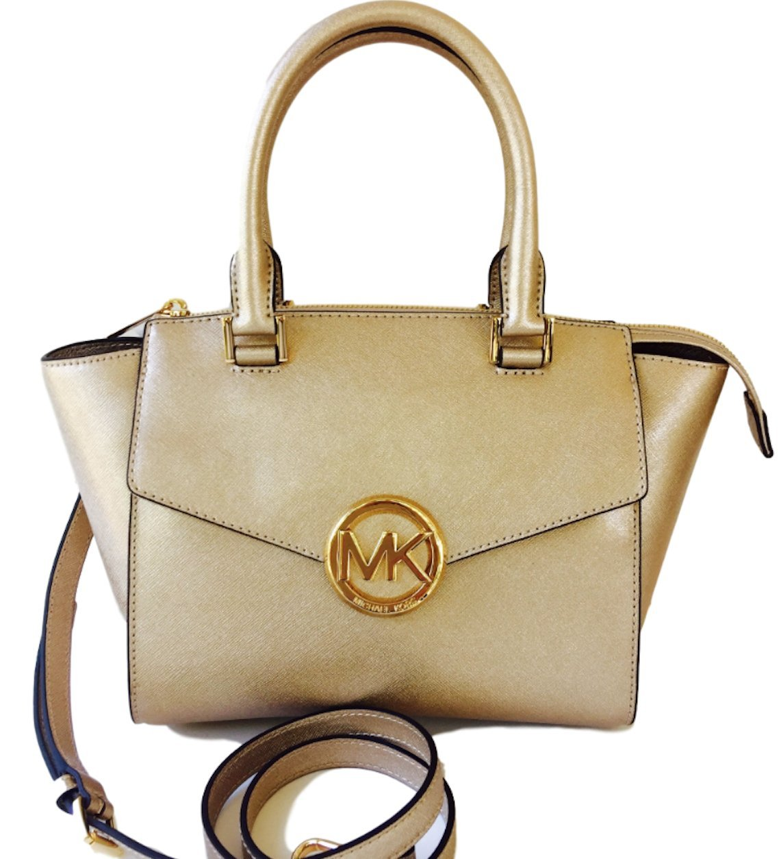 Michael Kors Hudson Medium Satchel in Saffiano Leather in Beautiful Pale Gold