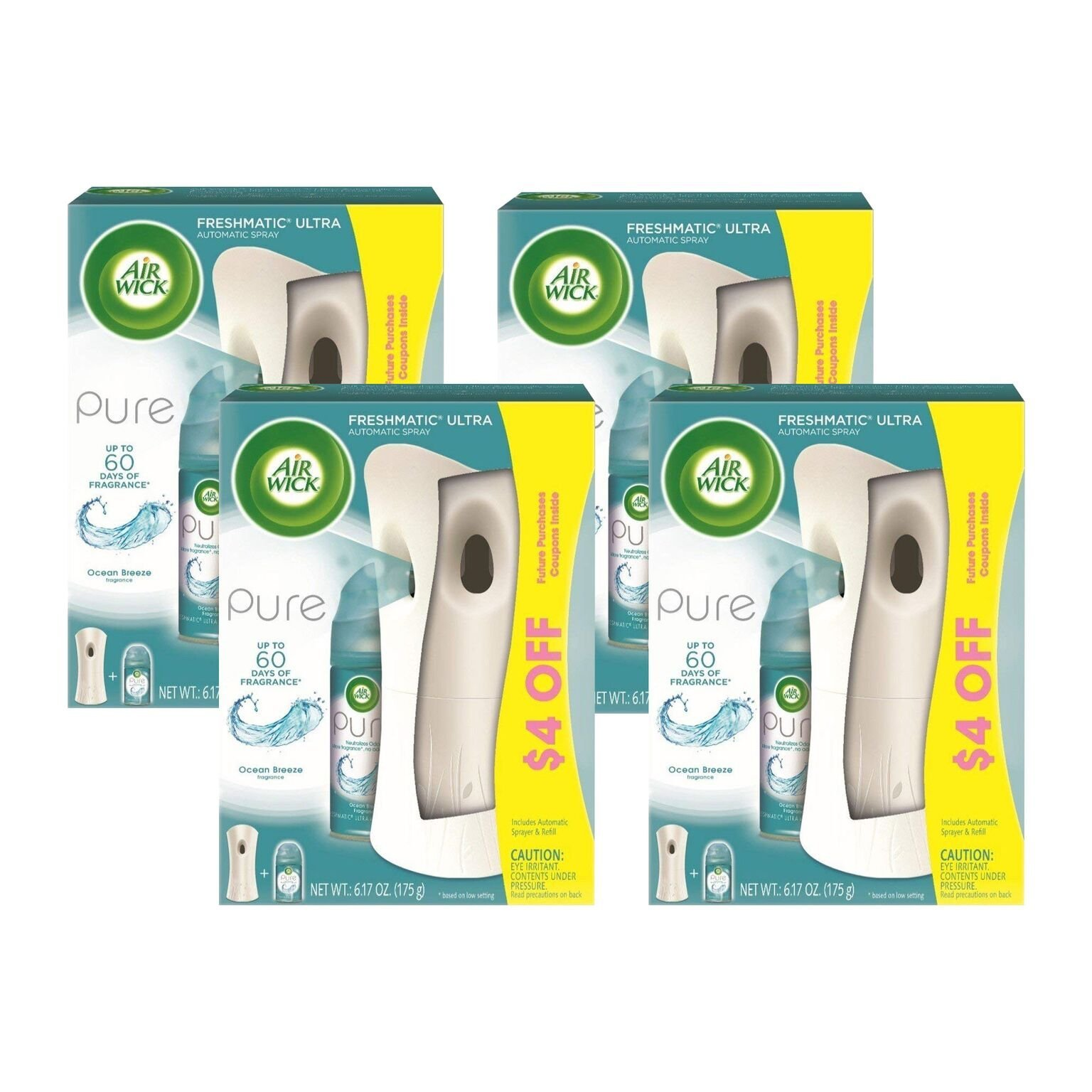 Air Wick FRESHMATIC Ultra, Starter Kit, Pure Ocean Breeze 1 ea (Pack of 4) by Air Wick (Image #1)