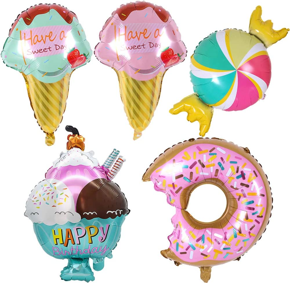 timecity Ice Cream Foil Balloons Kawaii Ice Cream Doughnut Candy Food Balloons for Summer Girls Kids Birthday Party Baby Show Decorations Ice Cream Themed Party Supplies 5pcs