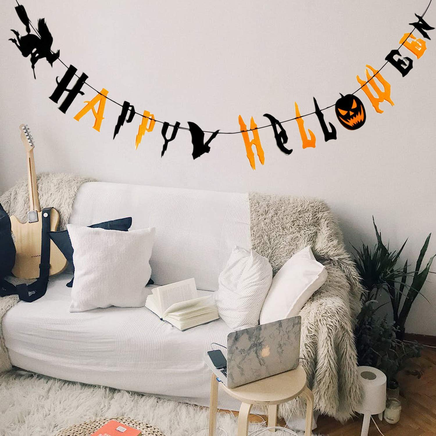 Happy Halloween Banner Bunting with Scary Pumpkin Flying Witch Spooky Bat Party Theme for Halloween Wall Decorations Party Supplies Home Hanging Photo Props