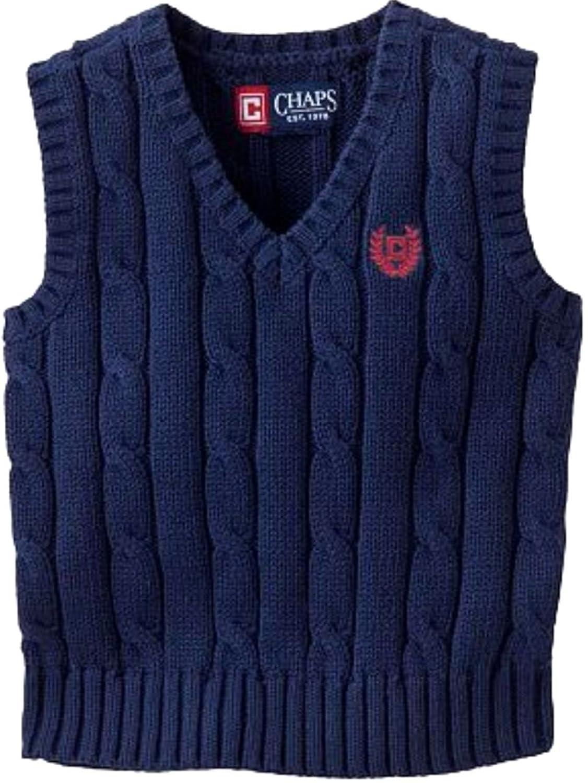 Amazon.com: CHAPS Boys Kids Cable Knit V-neck Sweater Vest Navy ...
