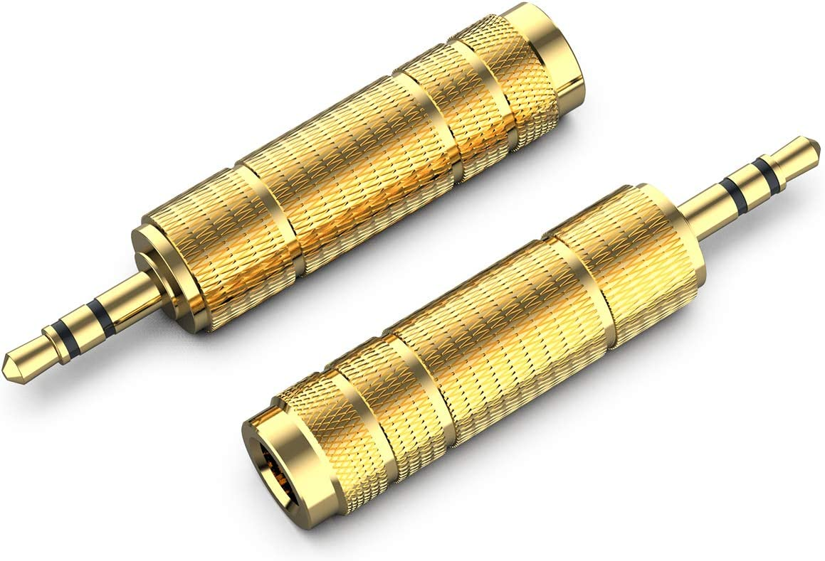 3.5 to 6.35 mm Converter 2 Pack-Gold Plated Female Stereo Audio Headphones Adapter 1//8 inch Male to 6.35mm 1//4 inch 3.5mm