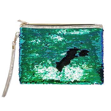 Amazon.com   DIY Magic Mermaid Reversible Sequins Cosmetic Bag Flip Sequin  Makeup Pouch Sparkly Double Color Handbag Glitter Pencil Case by Kasla  (Green ... b43c16071e3b