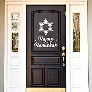 "Vinyl Wall Art Decal - Happy Hanukkah - 28"" x 22"" - Star of David Jewish Holiday Decoration Sticker - Indoor Outdoor Home Office Wall Door Window Bedroom Workplace Decor Decals (28"" x 22"", White)"