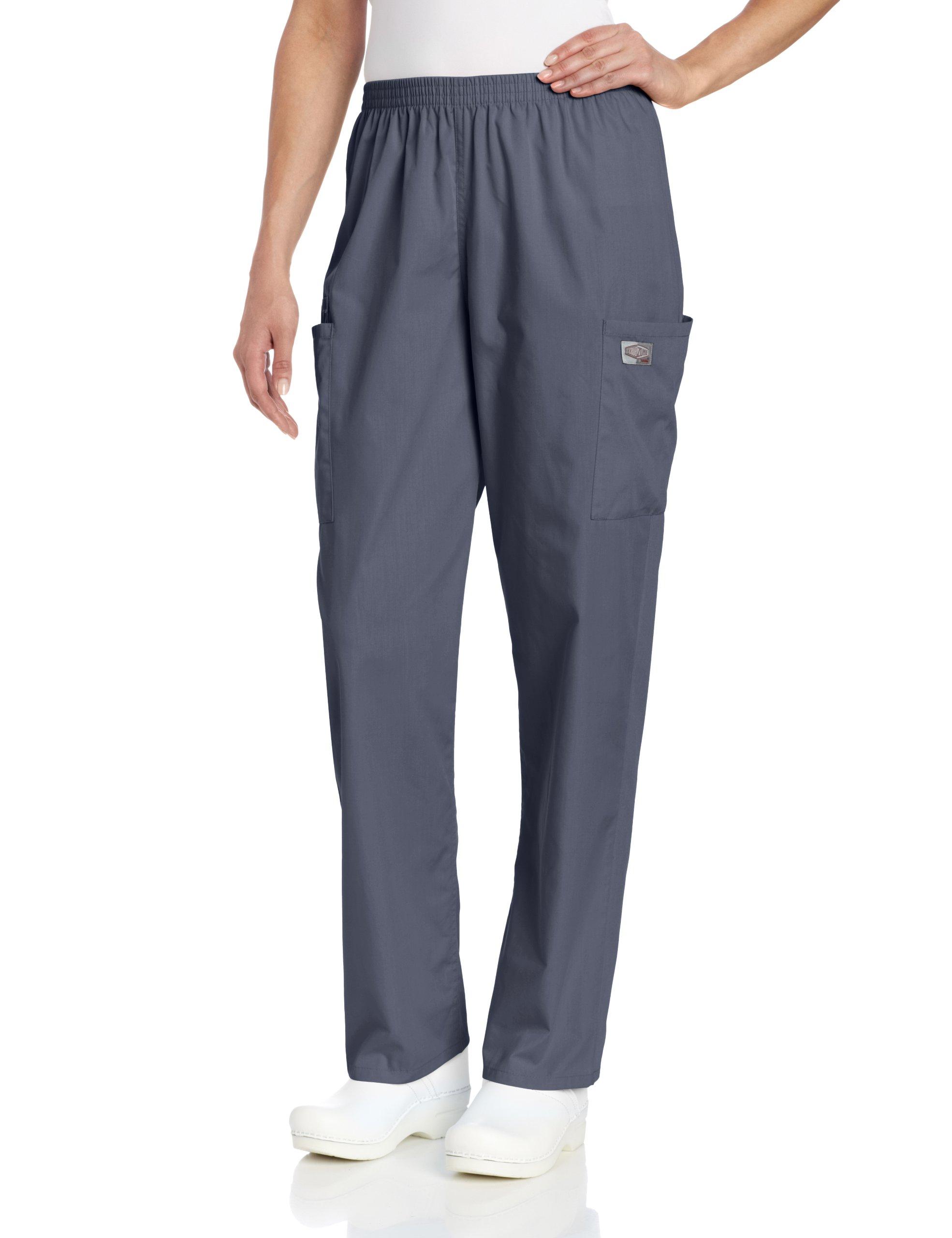 Landau ScrubZone Women's Full Elastic Waist Cargo Scrub Pant, Grey, Petite 3X