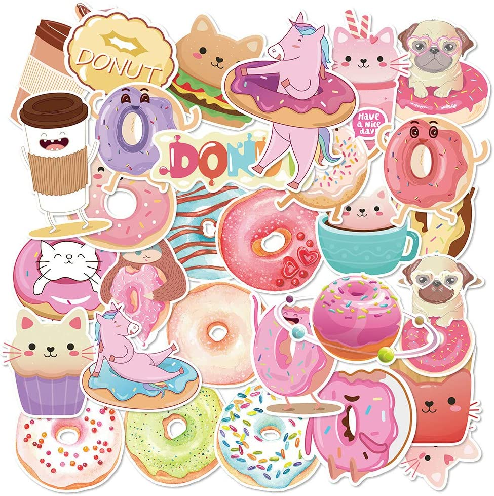 Cute Donuts Stickers Set Lovely Vsco Sticker for Kids Boys Girls Teens Teacher - Big 30 Pack Vinyl Waterproof Trendy Aesthetic Pink Decals for Hydroflask,Water Bottle,Laptop and More (Doughnuts)