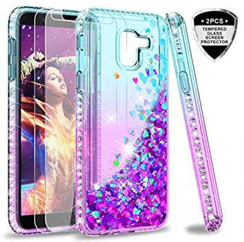 LeYi Compatible with Funda Samsung Galaxy J6 2018 Silicona Purpurina Carcasa con [2-Unidades Cristal Vidrio Templado],Transparente Cristal Bumper ...