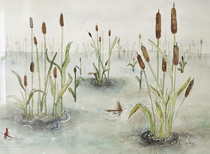 Original Nature Scene Watercolor Art. Lake Or Pond With Cattails. Matted  And Framed Wall