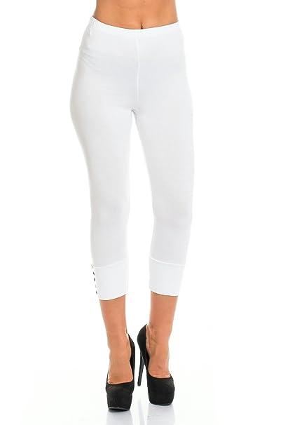 Fabrik zu verkaufen frische Stile CH. mode Damen Leggings 7/8 Schwarz Weiß Bunte Knöpfe Capri Gummizug Skinny  Stretch Hose Stoff Gr. M - 3XL