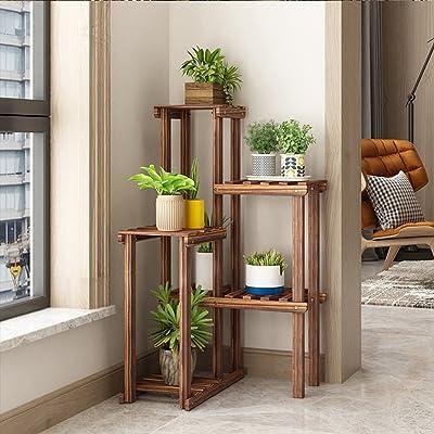 Yxx max -Home Decoration Solid Wood Flower Stand Living Room Balcony Corner Shelf Corner Multi-Layer Corner Indoor Floor Shelf Display Stand (Color : B) : Garden & Outdoor