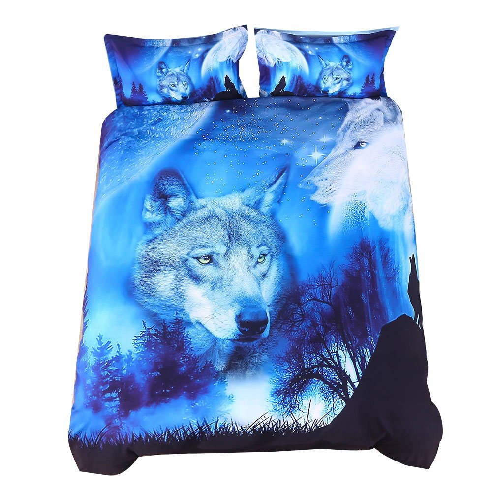 Wowelife 3D Wolf Bedding Sets Blue 2 Wolves at Moon Night Dark Forest 4-Pieces with 1 Duvet Cover,1 Flat Sheet and 2 Pillow Cases (Comforter and Fitted Sheet Not Included)(Twin)