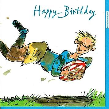 Woodmansterne Male Birthday Card Quentin Blake Rugby Star
