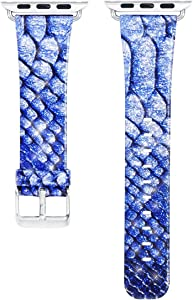 Apple Watch Band for Women, Alligator Pattern iWatch Band, PU Leather Replacement Strap with Stainless Classic Clasp for Apple Watch Series 3 Series 2 Series 1 - Blue