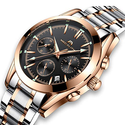 dddbb40237 Mens Watches Men Waterproof Chronograph Luminous Luxury Rose Gold Wrist  Watch Sport Dress Business Date Stainless Steel Watches for Man:  Amazon.co.uk: ...