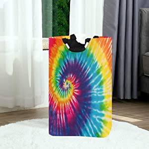 Pfrewn Swirl Rainbow Tie Dye Large Laundry Basket Collapsible Laundry Hamper with Handles Waterproof Durable Clothes Washing Bin Dirty Baskets Storage for Home College Dorm Bathroom