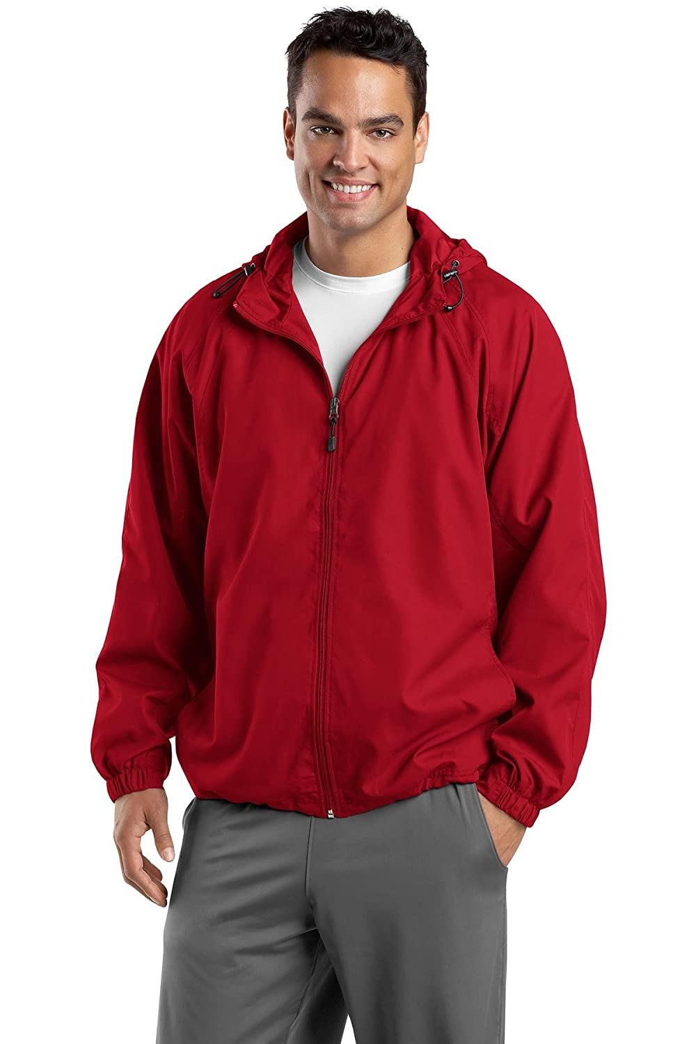 Sport-Tek Men's Polyester Hooded Raglan Jacket