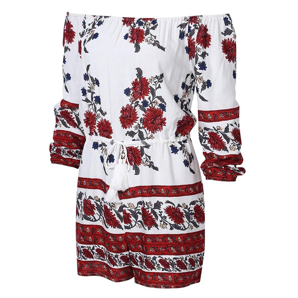 Women Off Shoulder Romper Strapless Floral Print Beach Shorts Jumpsuit