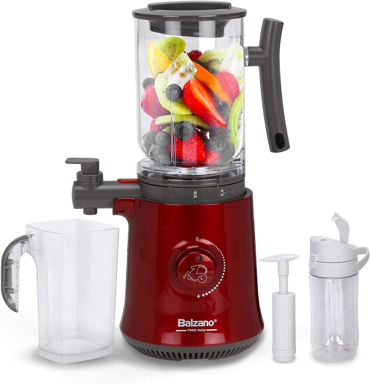 Balzano Yoga Blender/Smoothie Maker/Juicer/Soup Maker with Auto Seed Saperation and Immunity Booster - Metalic Red, Compact