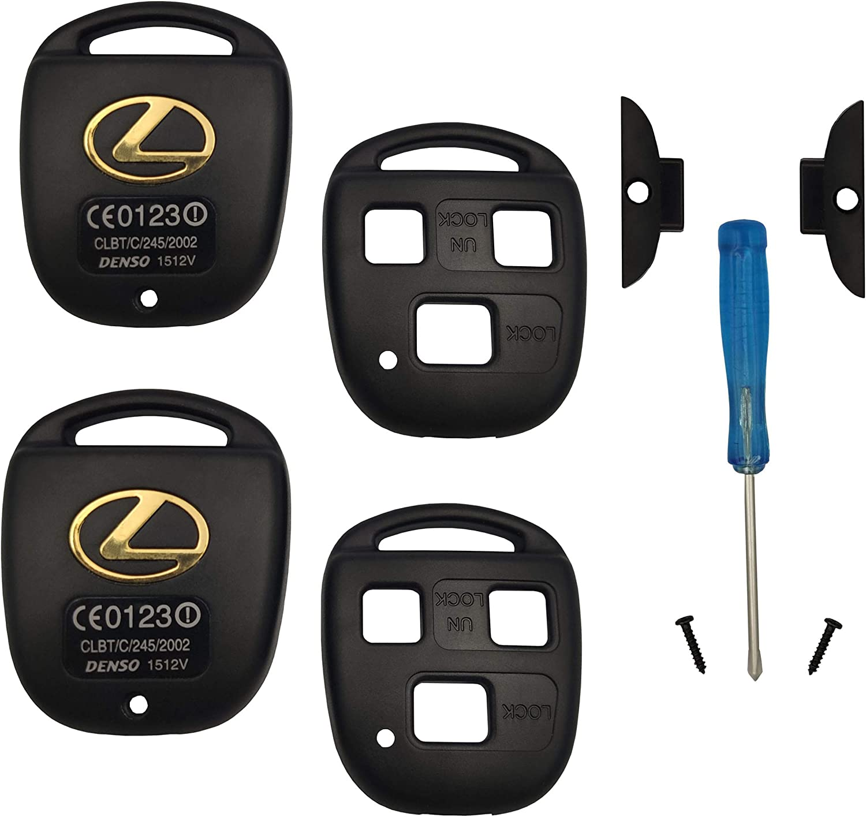 Key Case Replacement for Lexus GS300 GS400 GS430 GX470 IS300 LS400 LS430 LX470 RX300 RX330 RX350 RX400h RX450h SC430 Keyless Entry Remote BINOWEN-Key Fob Housing 2PC