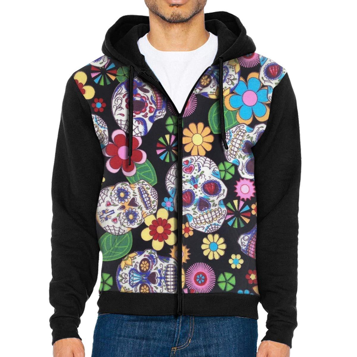 Men Pullover Hood Funky Sugar Skull Zip Hoodies Hooded Fashion Jackets Coats