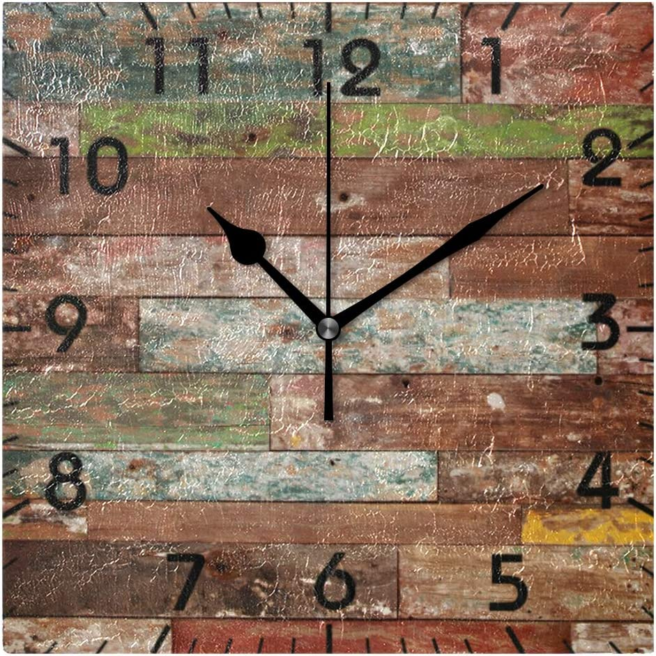 YiGee Vintage Rustic Wood Quiet Wall Clock - 8 Inch Quality Quartz Battery Operated Square Analog Silent Easy to Read Home/Office/School Clock